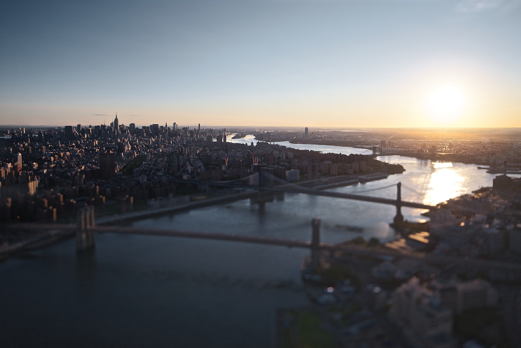 East River Bridges, Brooklyn, NY (Laforet NY Bridges Tilt-Shift Aerial 01)
