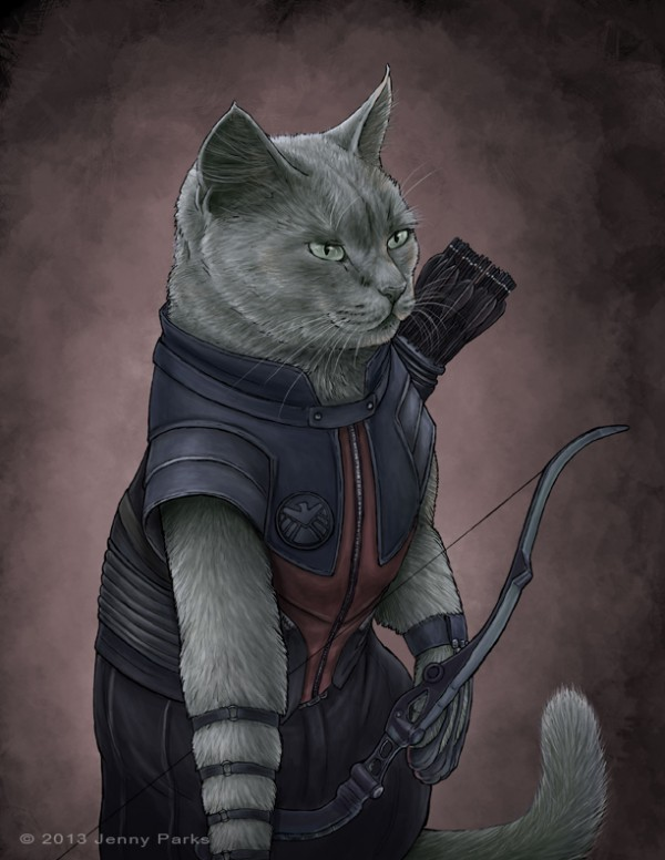 hawkeye-gatos-superheroes-jenny-parks-oldskull