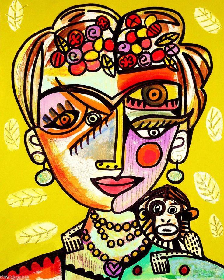 Frida kahlo y su mono ilustracion Sandra Silberzweig