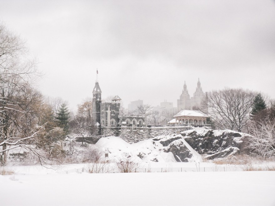 """Central Park Winter- Belvedere Castle in the Snow - New York City"""