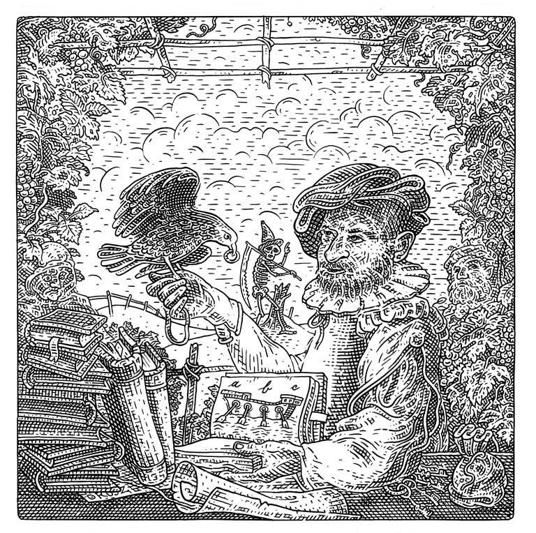 Istvan Orosz illusion illustration skull 3