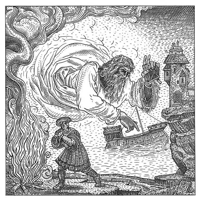 Istvan Orosz illusion illustration skull 4