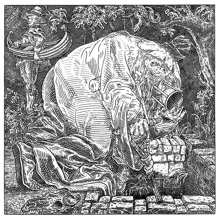 Istvan Orosz illusion illustration skull 6