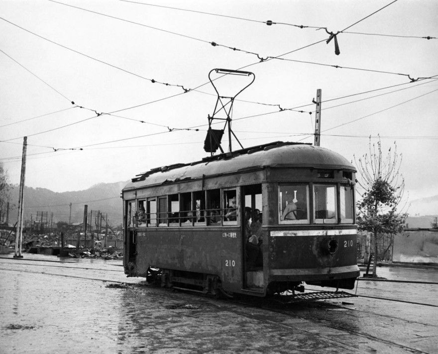 Not published in LIFE. Hiroshima streetcar, September, 1945.