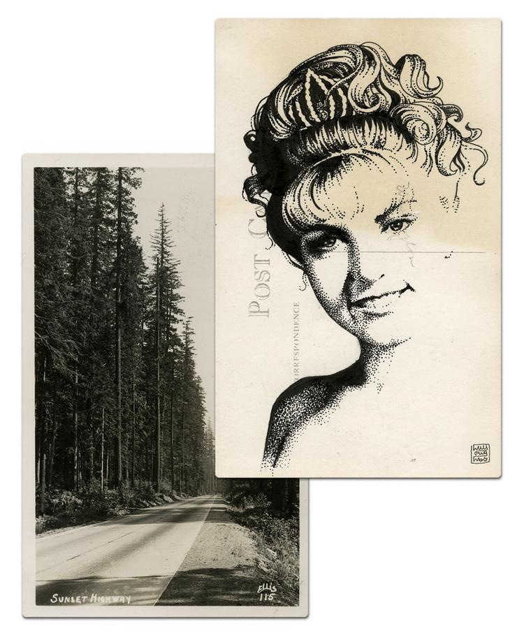 twin peaks post cards oldskull 1