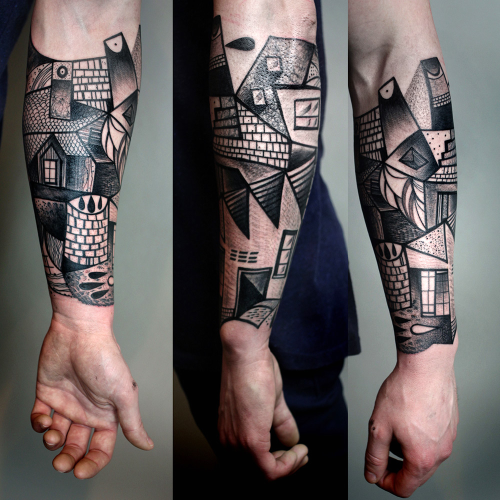 New Cubist Tattoos by Peter Aurisch