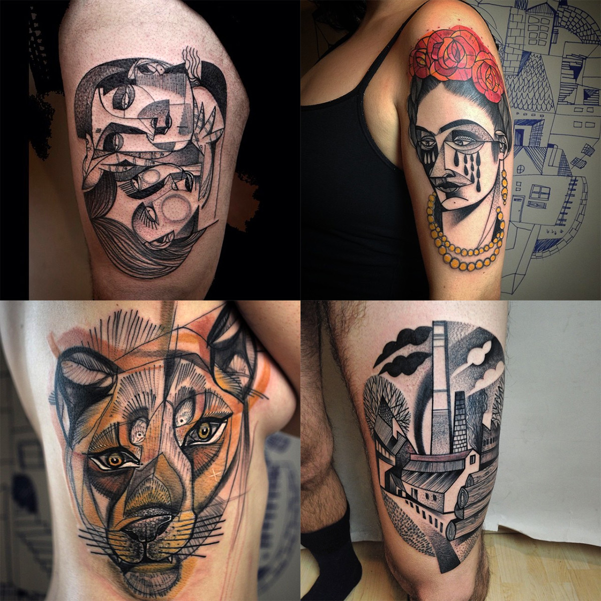 New Cubist Tattoos by Peter Aurisch(7)