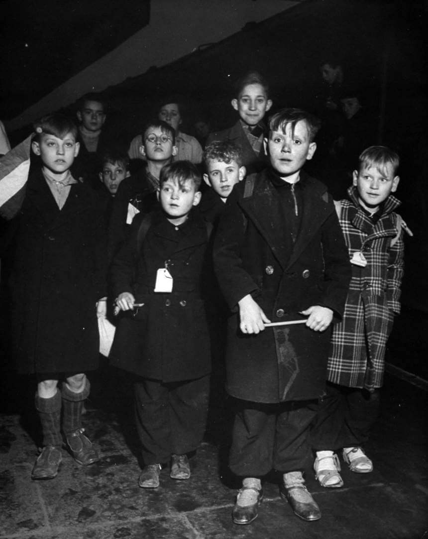 Group of Dutch refugee children arriving at Coventry Station.