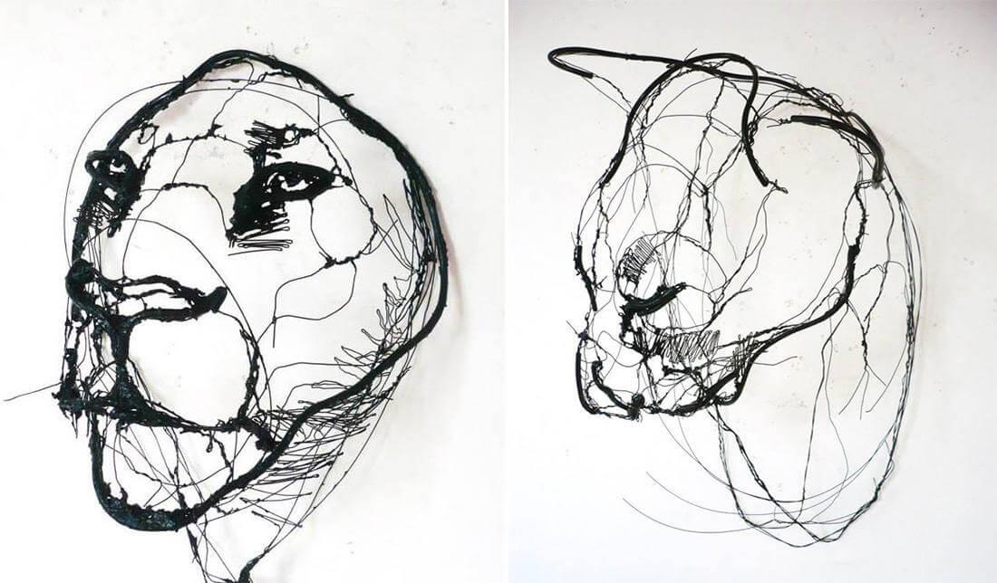 david oliveira sculpture wire oldskull 6