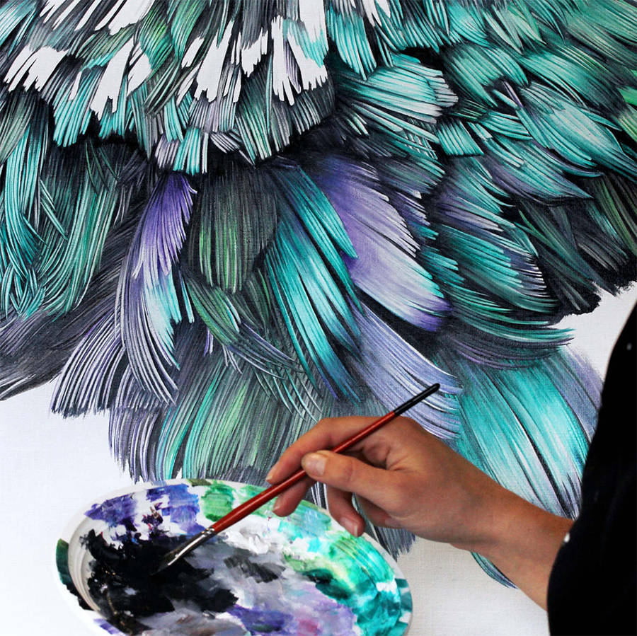 Adele Renault Paints Incredibly Realistic Pigeon (4)