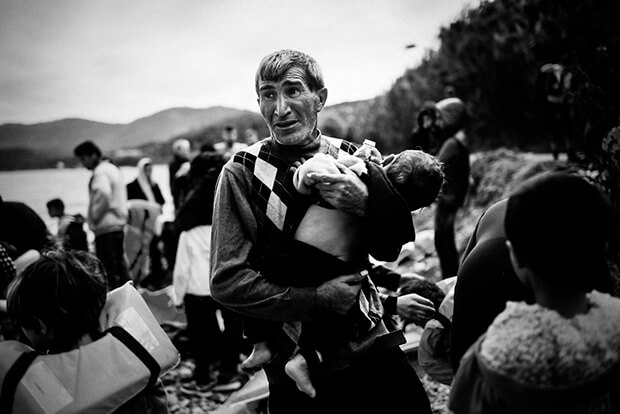The crossing across the Aegean is notoriously perilous. This man just arrived with his family at Lesbos island; scarred and happy at the same time.