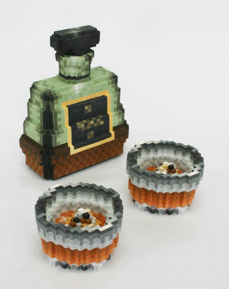sculpture pixel ceramic oldskull 7
