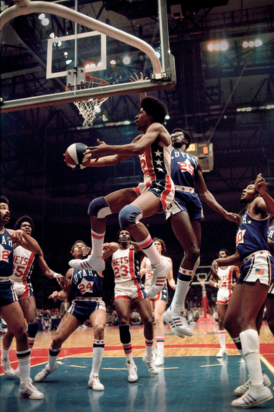 Erving goes for a layup