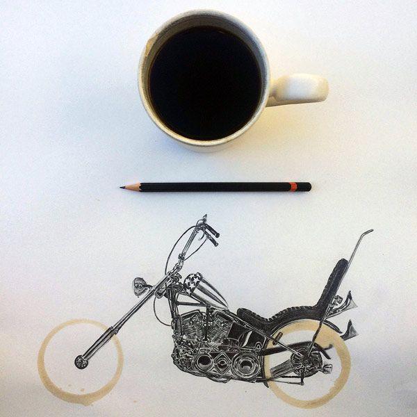 Carter Asmann convierte las manchas de la taza de café en ilustraciones