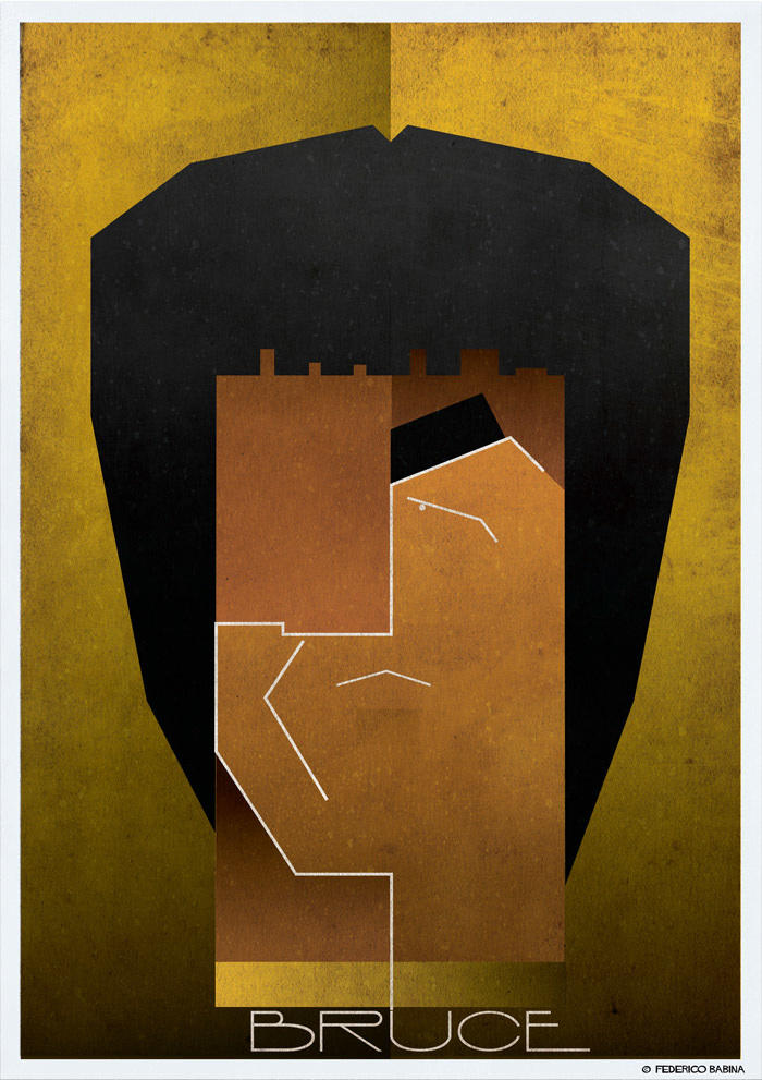 bruce lee cubist illustration
