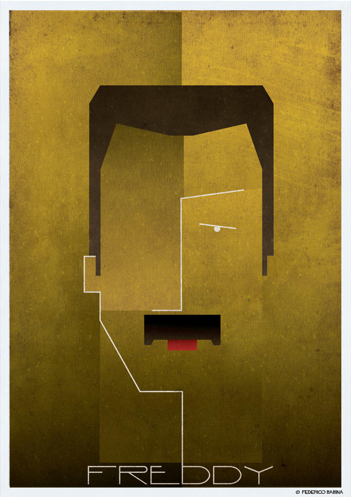 freddy mercury cubist illustration