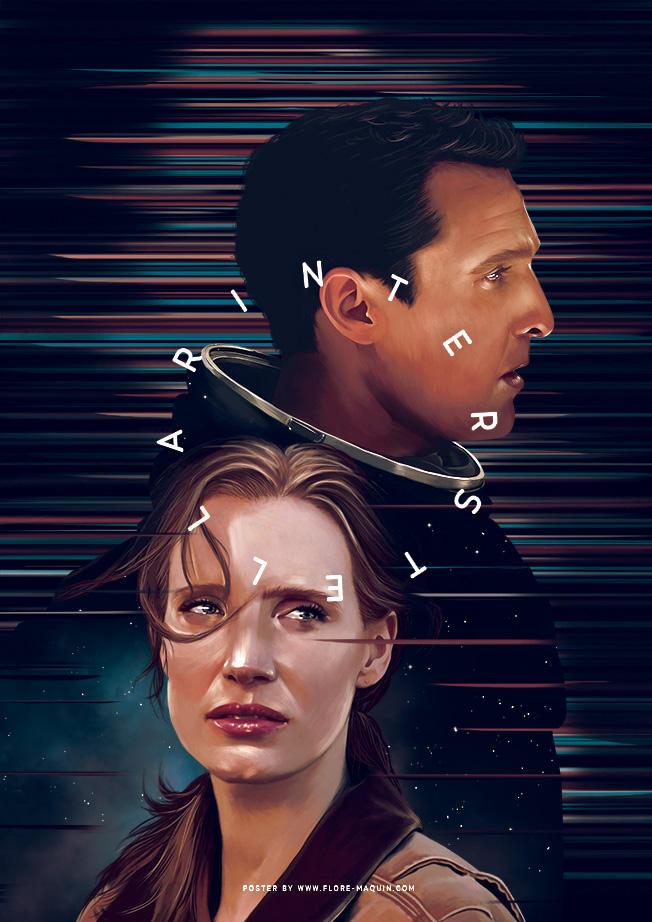 Flore Maquin  movie posters illustration interstellar