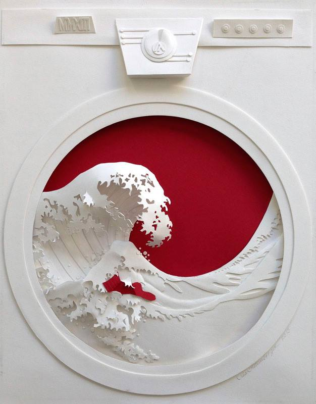 Jeff Nishinaka paper art sculpture oldskull 0