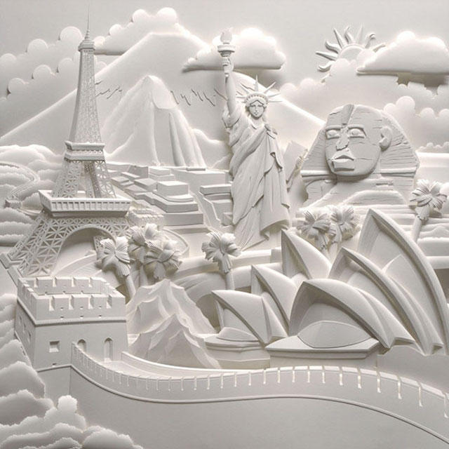 Jeff Nishinaka paper art sculpture oldskull 1
