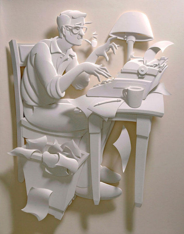 Jeff Nishinaka paper art sculpture oldskull 3