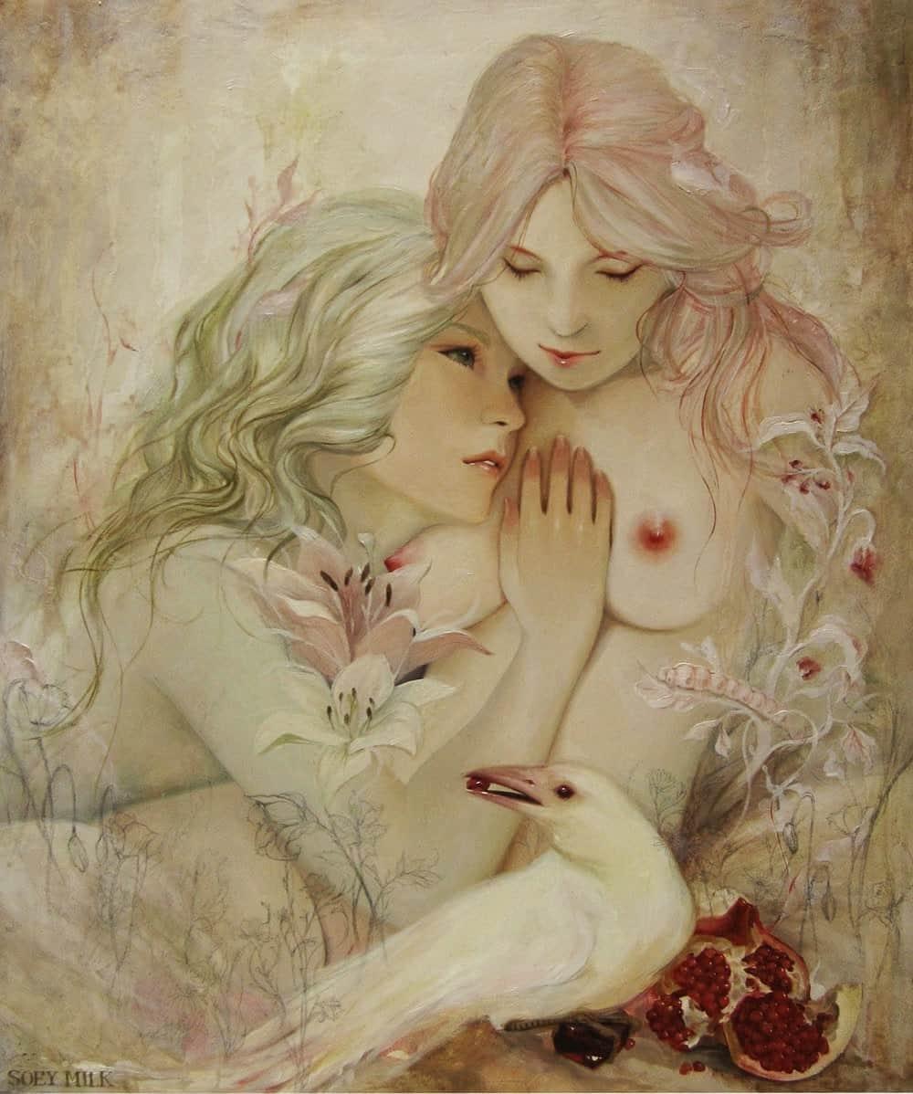 Ilustracion de Soey Milk dinde aparecen dos chicas en la cama