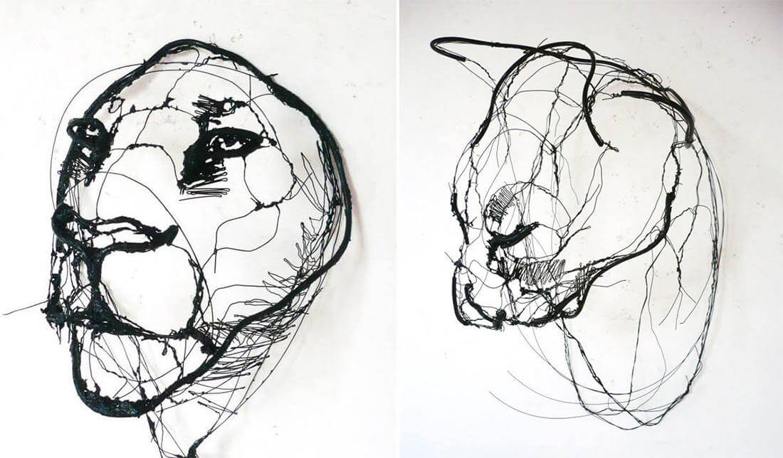 david oliveira sculpture wire oldskull 6