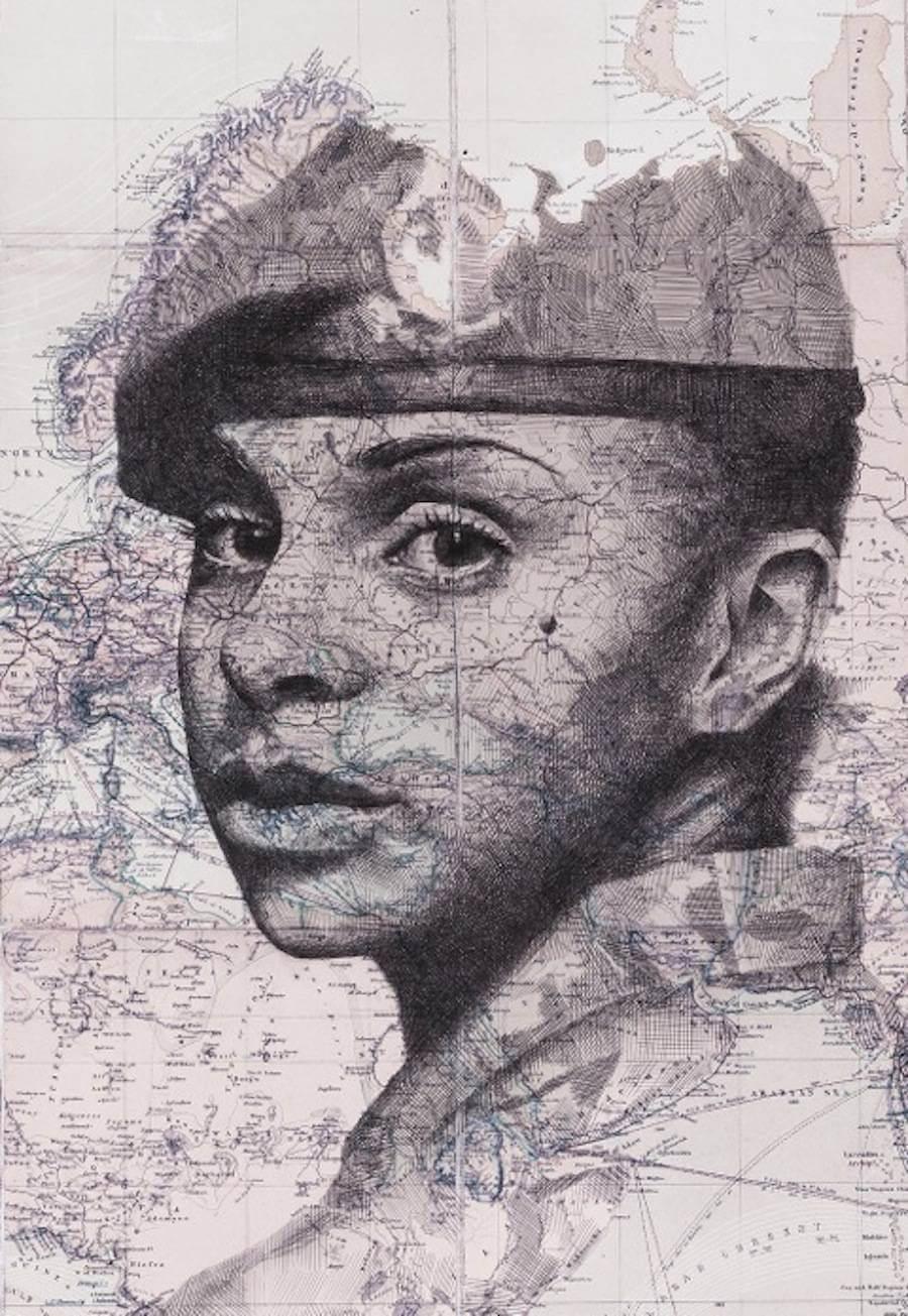Portraits Drawn on Maps by Ed Fairburn  (5)