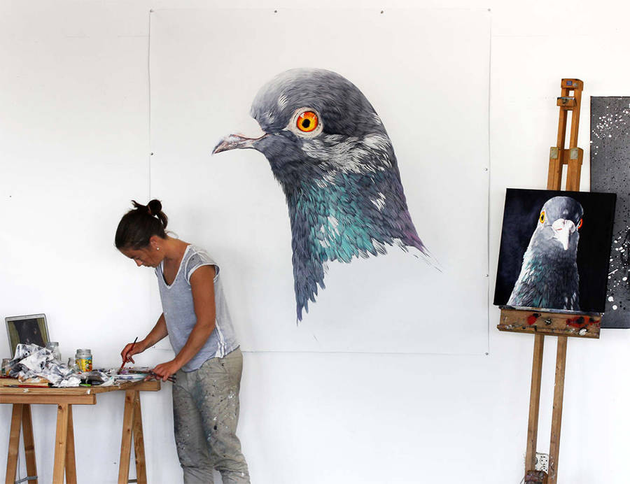 Adele Renault Paints Incredibly Realistic Pigeon (9)