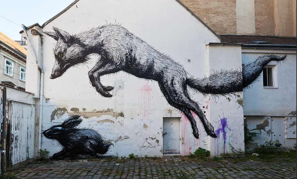 Roa rat street art graffiti