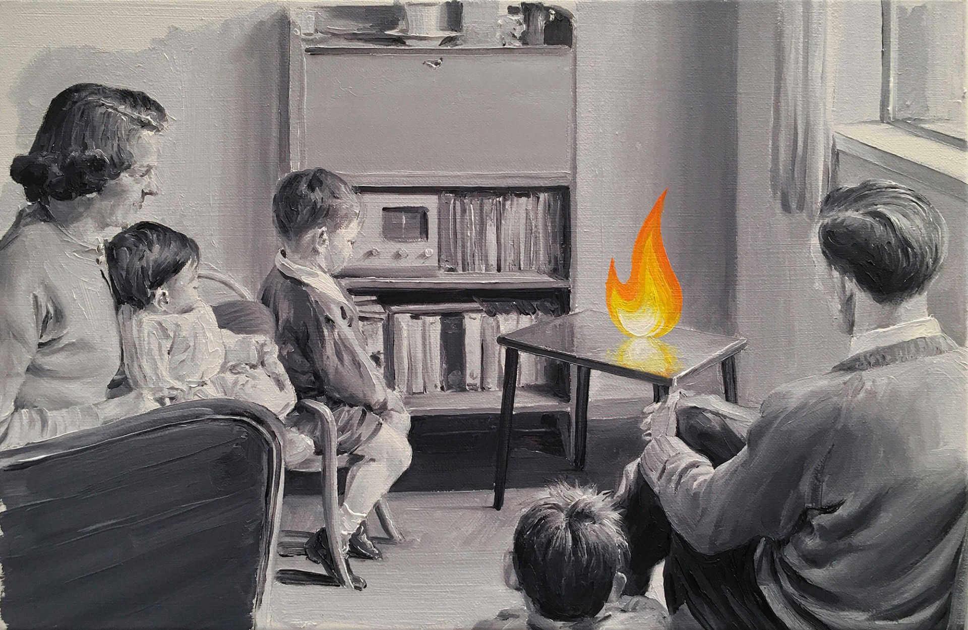 Cuadro surrealista de Paco Poment, familia mirando llama de fuego