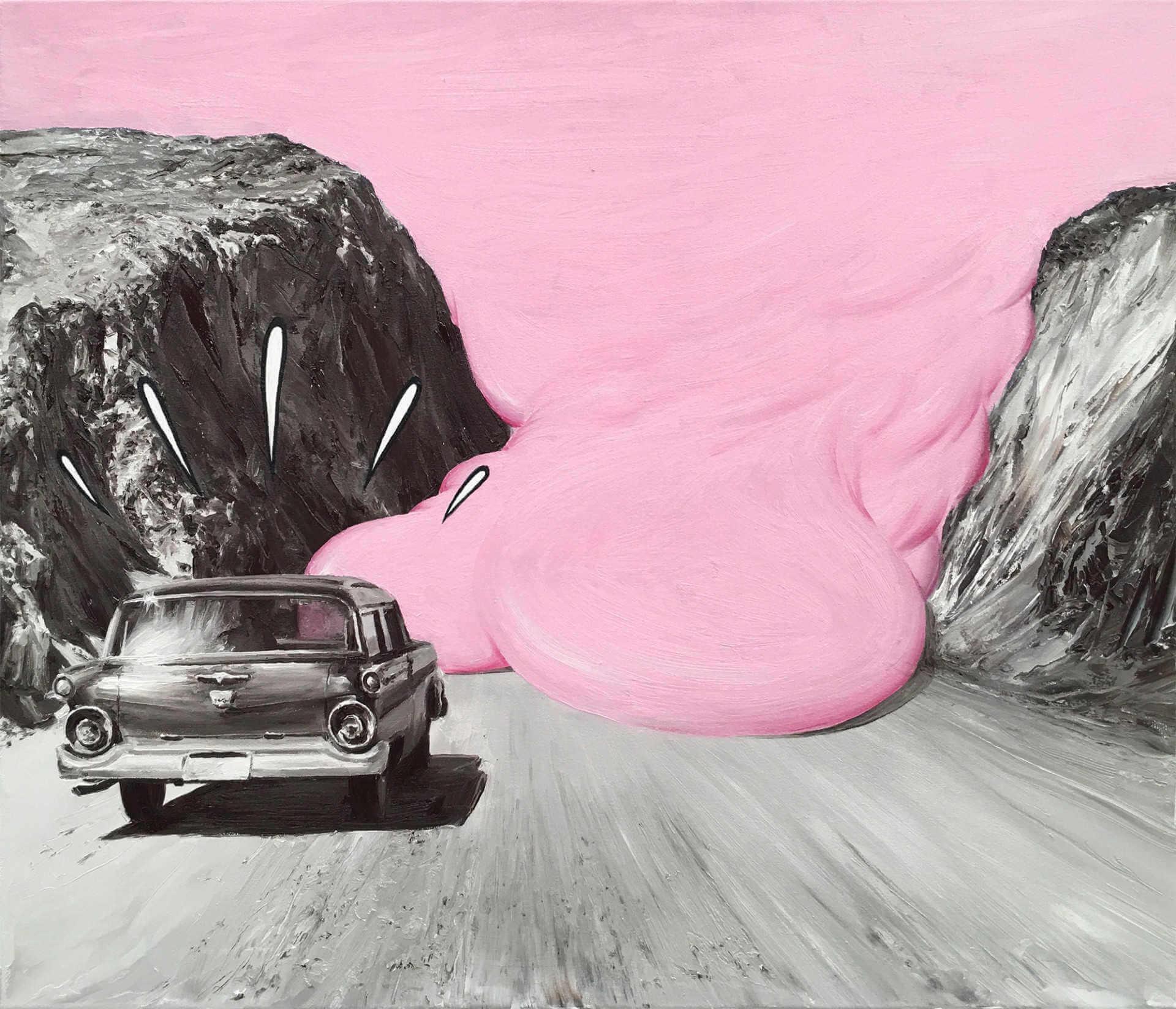 Pintura al oleo de paco pomet de un coche hacia la nieve